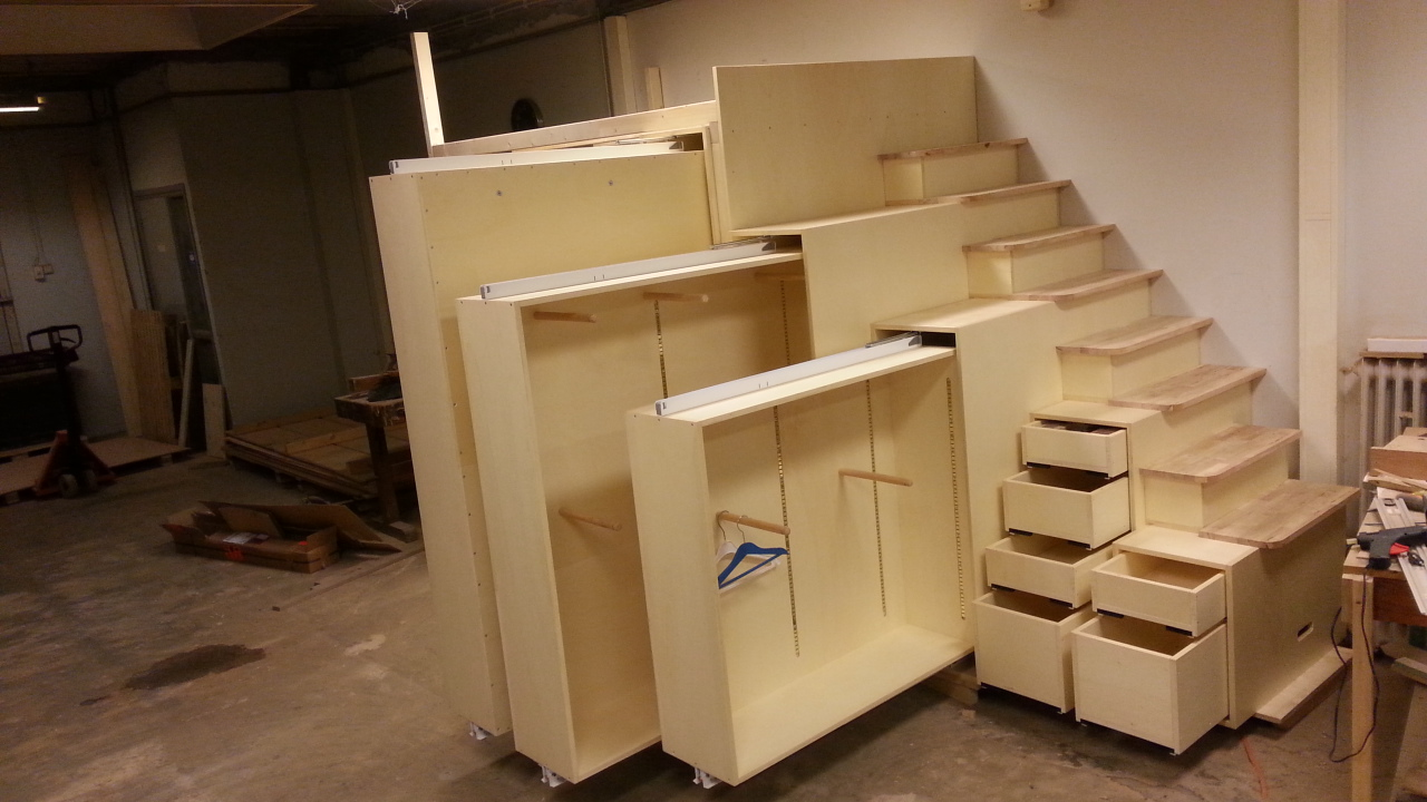Kasten in (gedeeltelijk) uitgetrokken stand